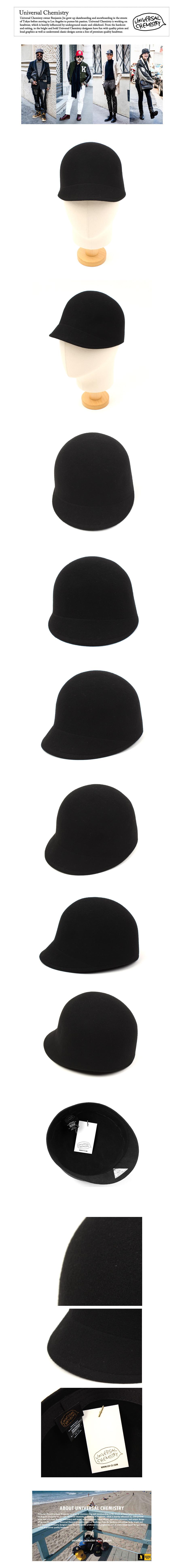 Wool Black Round Riding Cap 승마모자