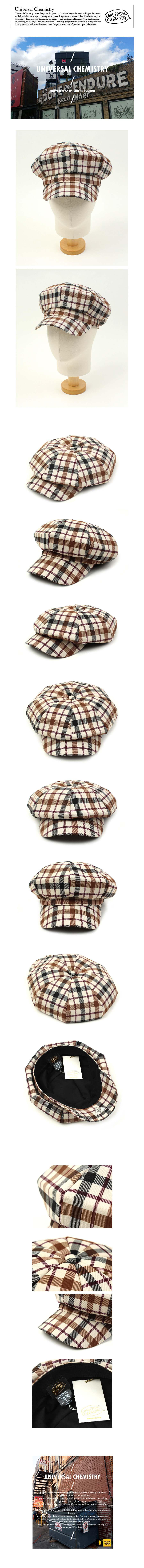 Block Check Beige Newsboy Cap 뉴스보이캡