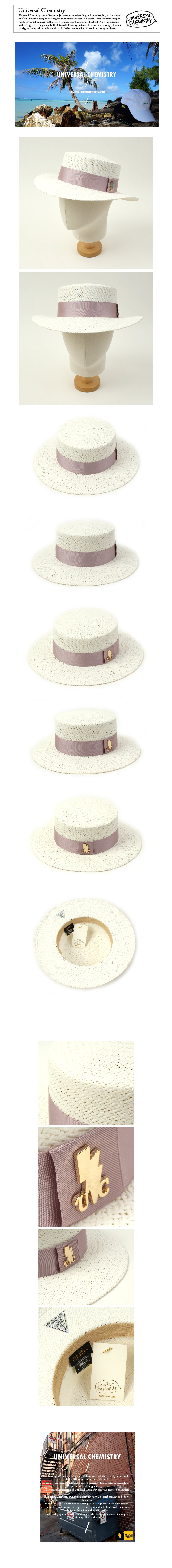 Pink Line White Panama Hat 파나마햇