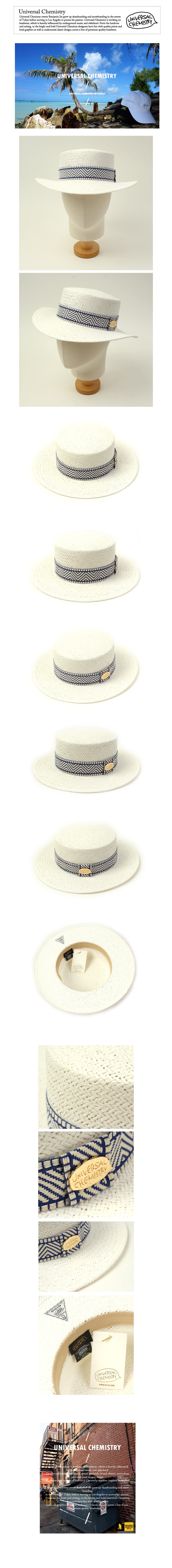 Blue Mono Line White Panama Hat 여름페도라