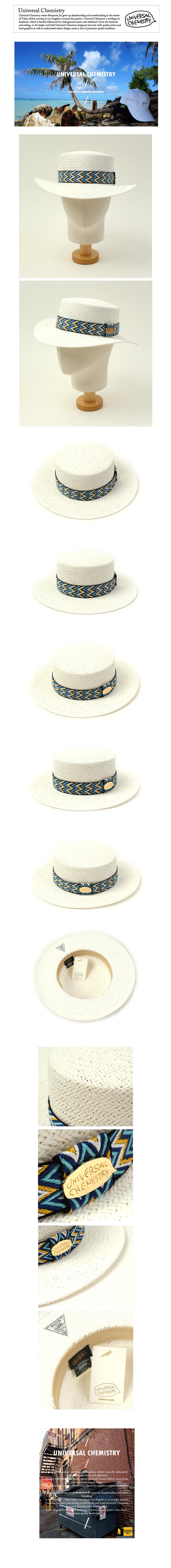 Blue Wave Line White Panama Hat 여름페도라