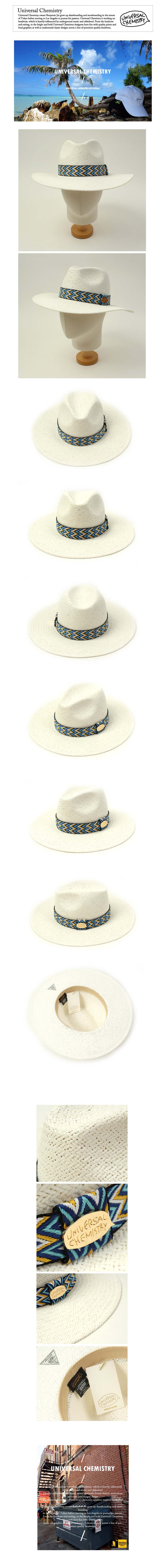 Blue Wave Line Swing White Fedora 여름페도라
